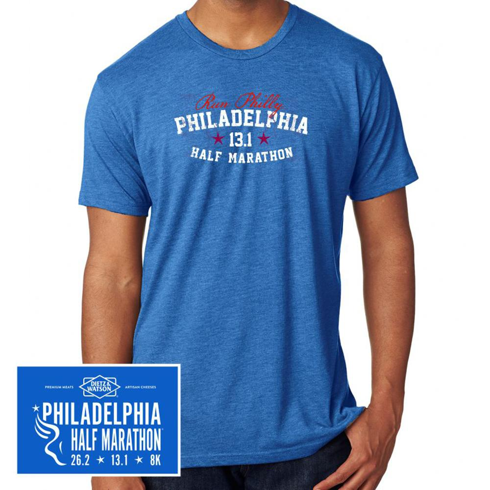 Philadelphia Marathon: 'Collegiate Half Marathon' Men's SS Tri-Blend Tee - Vintage Royal - by Staton Mem or Alpha PA