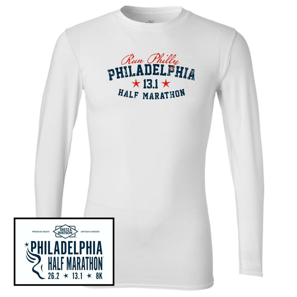 Philadelphia Marathon: 'Collegiate Half Marathon' Men's LS Compression Tee - White - by bella