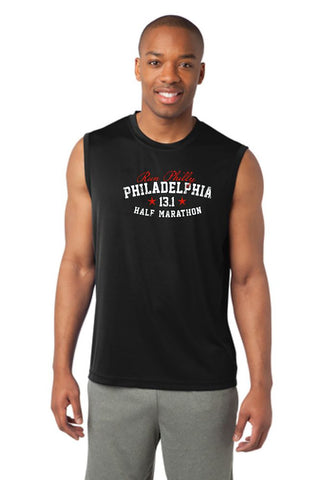 Dietz & Watson Philadelphia Half Marathon: 'Collegiate' Men's Sleeveless Tech Tank - Black