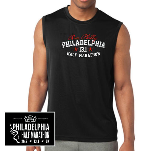Philadelphia Marathon: 'Collegiate Half Marathon' Men's Sleeveless Tech Tank - Black - by Sanmar
