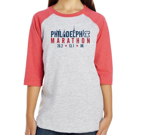 AACR Philadelphia Marathon: 'Landmarks' Youth 3/4 sleeve Baseball Tee - Vintage Heather / Vntg Red - by LAT