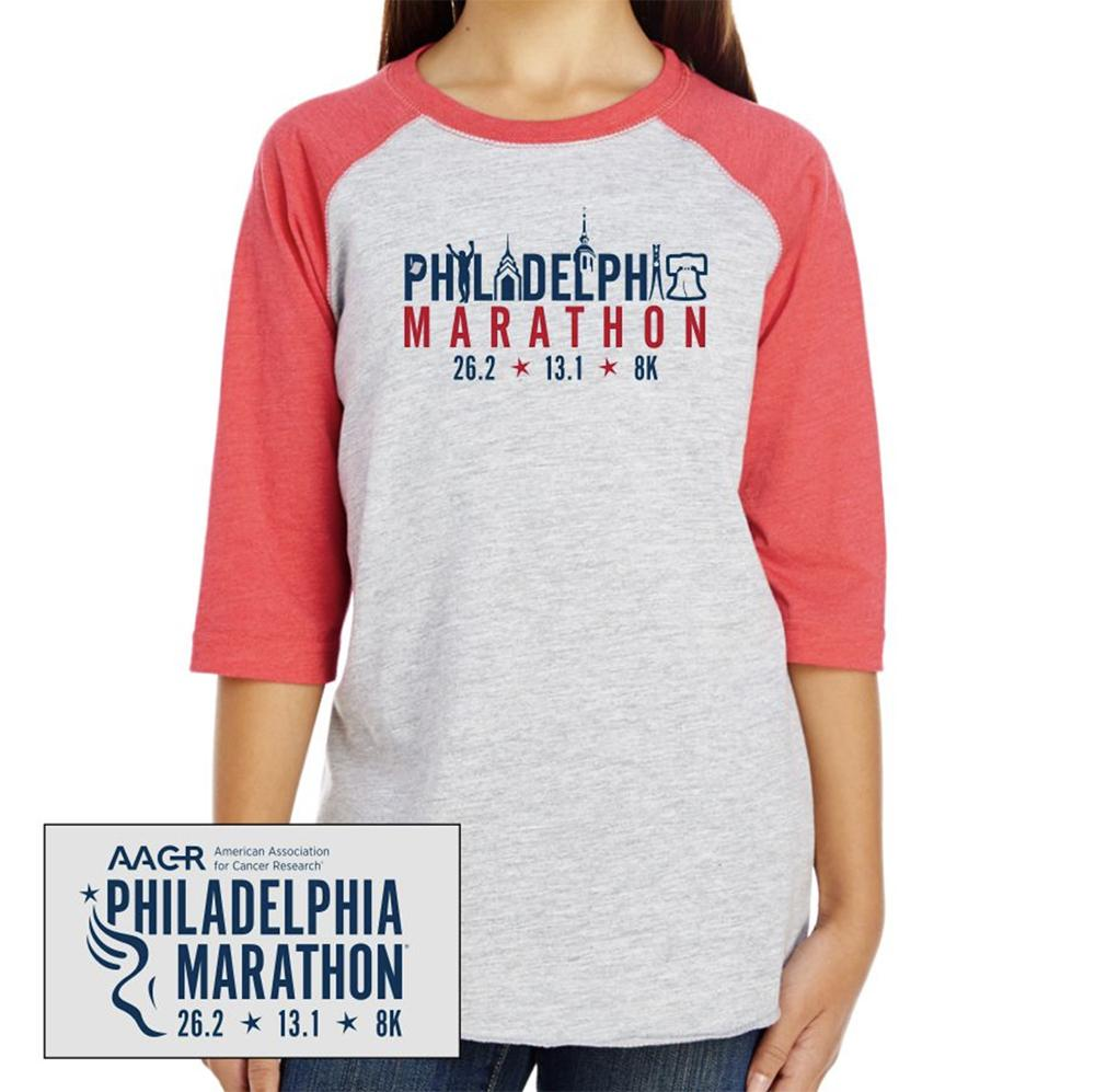 Philadelphia Marathon: 'Landmarks' Youth 3/4 sleeve Baseball Tee - Vintage Heather / Vntg Red - by LAT