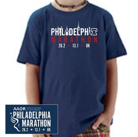 Philadelphia Marathon: 'Landmarks' Youth SS Tee - Navy - by Rabbit Skins