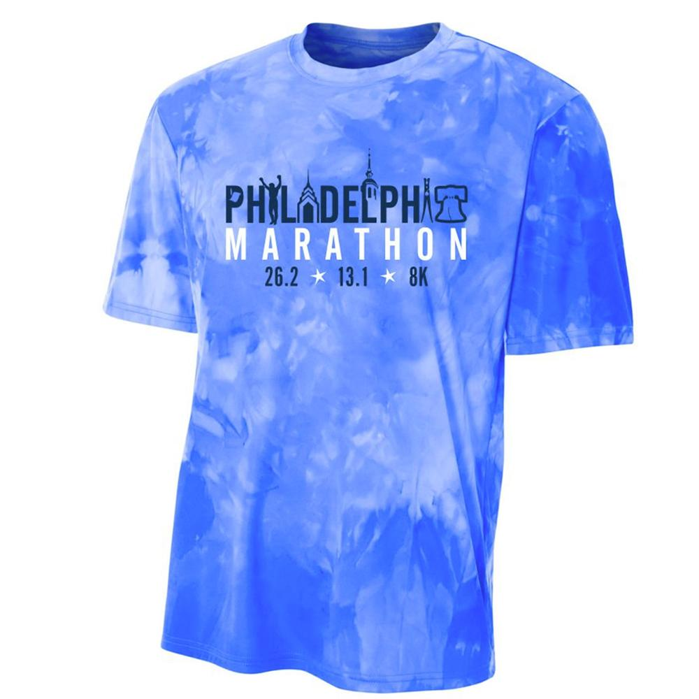 AACR Philadelphia Marathon: 'Landmarks' Youth SS Tech Cloud Dye Tee - Royal - by A4