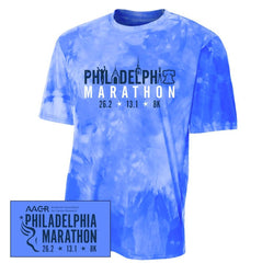 Philadelphia Marathon: 'Landmarks' Youth SS Tech Cloud Dye Tee - Royal - by A4