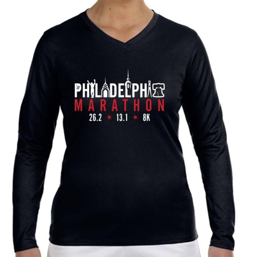 AACR Philadelphia Marathon: 'Landmarks' Women's LS Tech V-Neck Tee - Black - by New Balance