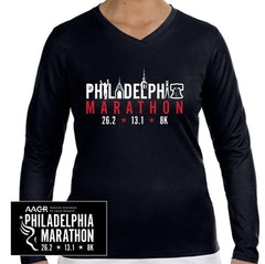 Philadelphia Marathon: 'Landmarks' Women's LS Tech V-Neck Tee - Black - by New Balance