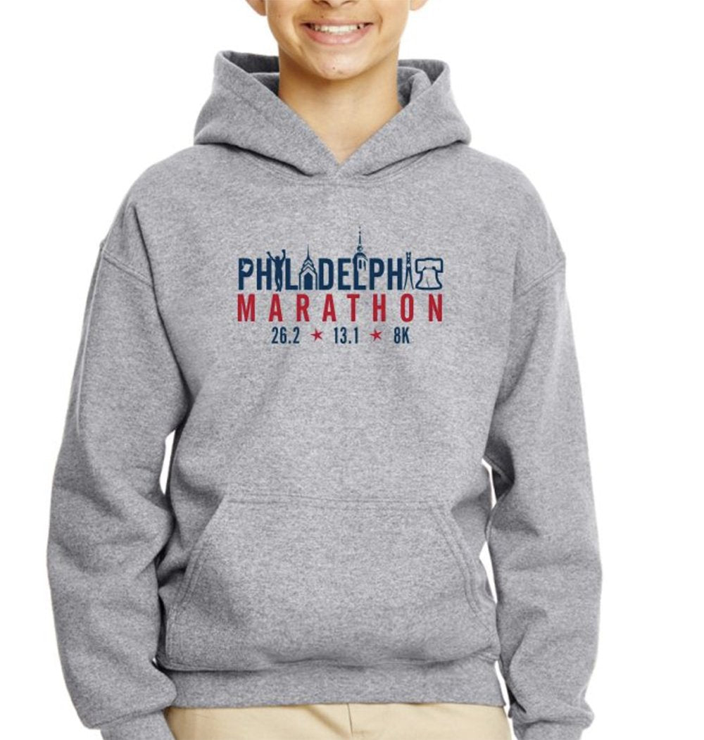 AACR Philadelphia Marathon: 'Landmarks' Youth Fleece Kangaroo Pocket Hoody - Graphite Heather - by Gildan