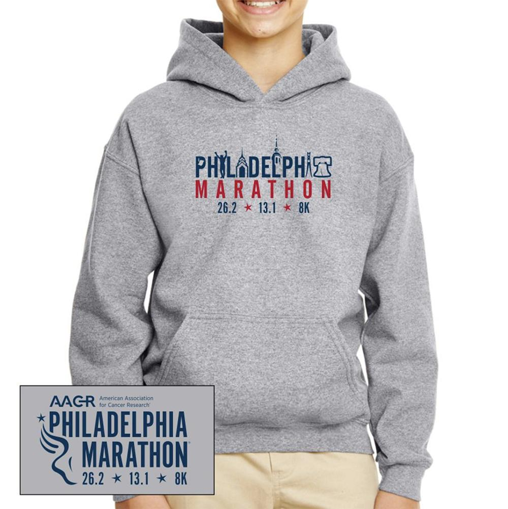 Philadelphia Marathon: 'Landmarks' Youth Fleece Kangaroo Pocket Hoody - Graphite Heather - by Gildan