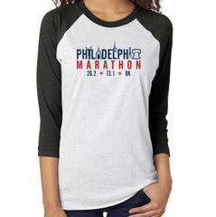 AACR Philadelphia Marathon: 'Landmarks' Adult LS Tri-Blend Baseball Tee - Vintage Black/ Heather White - by Next Level