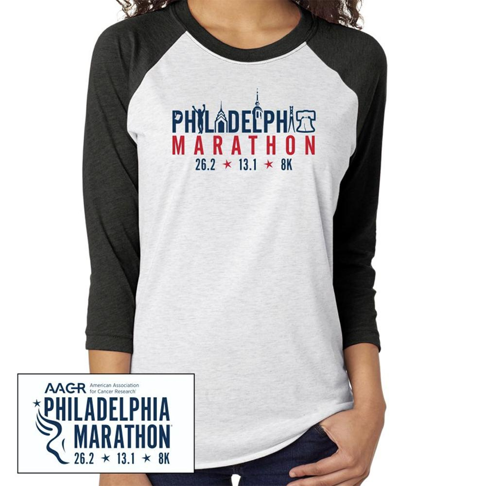 Philadelphia Marathon: 'Landmarks' Adult LS Tri-Blend Baseball Tee - Vintage Black/ Heather White - by Next Level