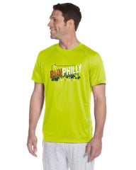 AACR Philadelphia Marathon: 'Run Philly' Men's SS Tech Tee - Safety Green - by New Balance