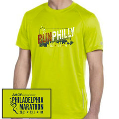 Philadelphia Marathon: 'Run Philly' Men's SS Tech Tee - Safety Green - by New Balance