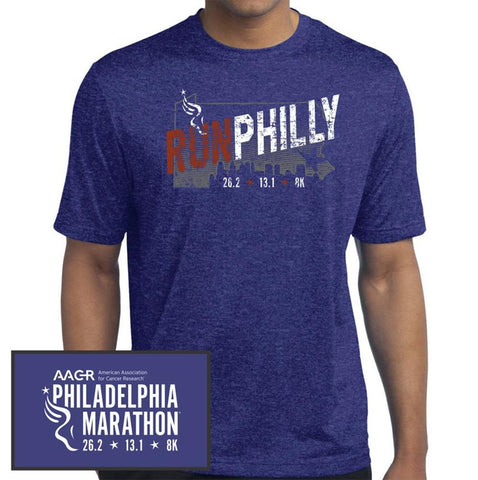 Philadelphia Marathon: 'Run Philly' Men's SS Tech Tee - Cobalt Blue - by Sport-Tek