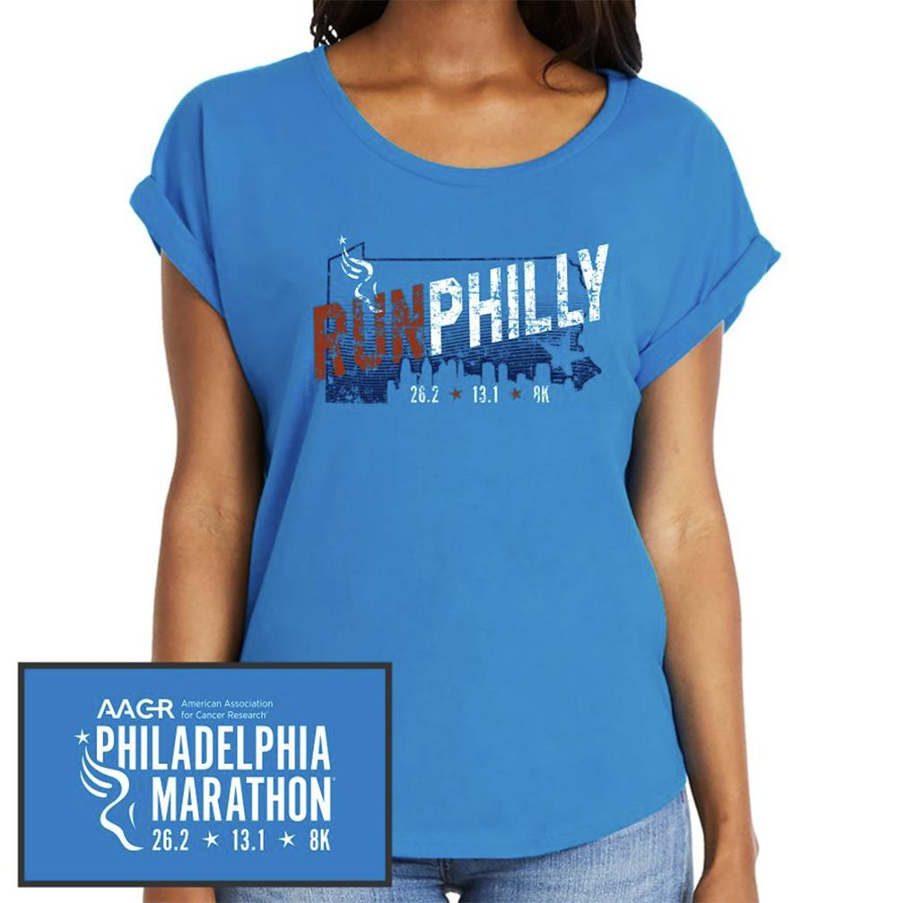 Philadelphia Marathon: 'Run Philly' Women's SS Fashion Rolled Sleeve Tee - Turquoise - by Next Level