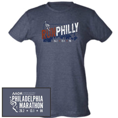 Philadelphia Marathon: 'Run Philly' Men's SS Fashion Tee - Heather Grey - by Tultex