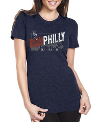 AACR Philadelphia Marathon: 'Run Philly' Women's SS Fashion Tee - Heather Navy - by Tultex