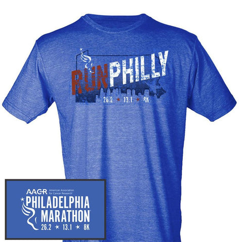 Philadelphia Marathon: 'Run Philly' Men's SS Fashion Tee - Heather Royal - by Bella