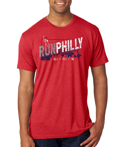 AACR Philadelphia Marathon: 'Run Philly' Men's SS Tri-Blend Tee - Vintage Red - by Next Level
