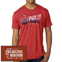 Philadelphia Marathon: 'Run Philly' Men's SS Tri-Blend Tee - Vintage Red - by Next Level