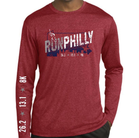 AACR Philadelphia Marathon: 'Run Philly' Men's LS Tech Heathered Tee - Scarlet Heather - by Sport-Tek