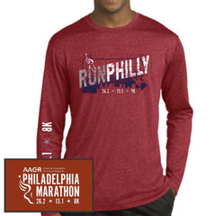 Philadelphia Marathon: 'Run Philly' Men's LS Tech Heathered Tee - Scarlet Heather - by Sport-Tek