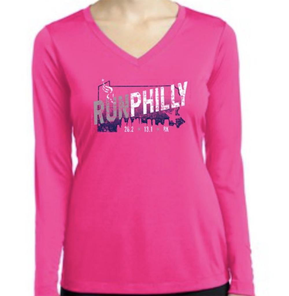 AACR Philadelphia Marathon: 'Run Philly' Women's LS Tech Tee - Neon Pink - by Sport-Tek