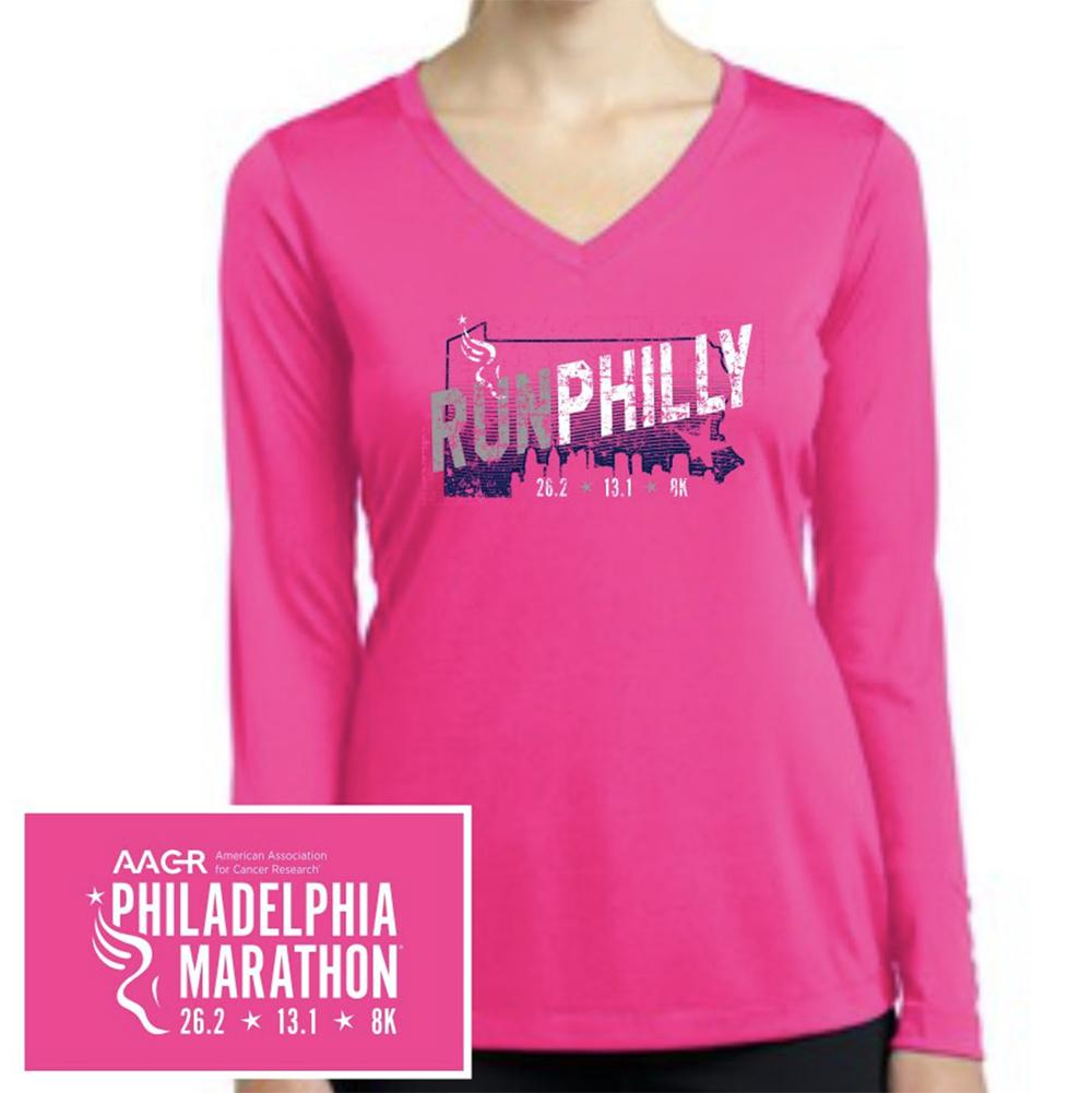 Philadelphia Marathon: 'Run Philly' Women's LS Tech Tee - Neon Pink - by Sport-Tek