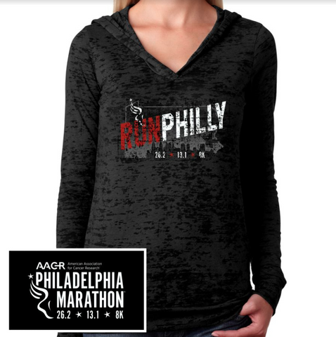 AACR Philadelphia Marathon: 'Run Philly' Women's Burnout Lightweight Hoody - Black - by Next Level