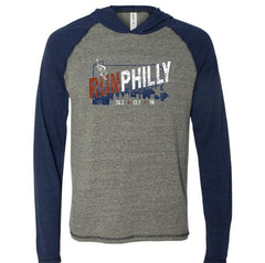 AACR Philadelphia Marathon: 'Run Philly' Men's Tri-Blend Lightweight Hoody - Grey Heather/Navy Heather Triblend - by ALL SPORT