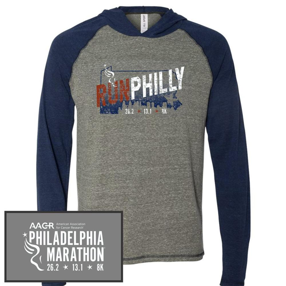 Philadelphia Marathon: 'Run Philly' Men's Tri-Blend Lightweight Hoody - Grey Heather/Navy Heather Triblend - by ALL SPORT
