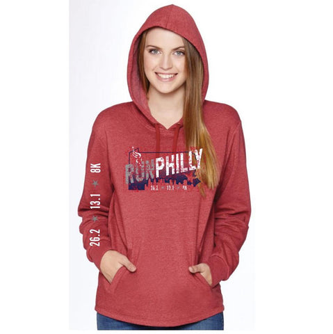 Philadelphia Marathon: 'Run Philly' Adult Fleece Hoody - Red - by Bella