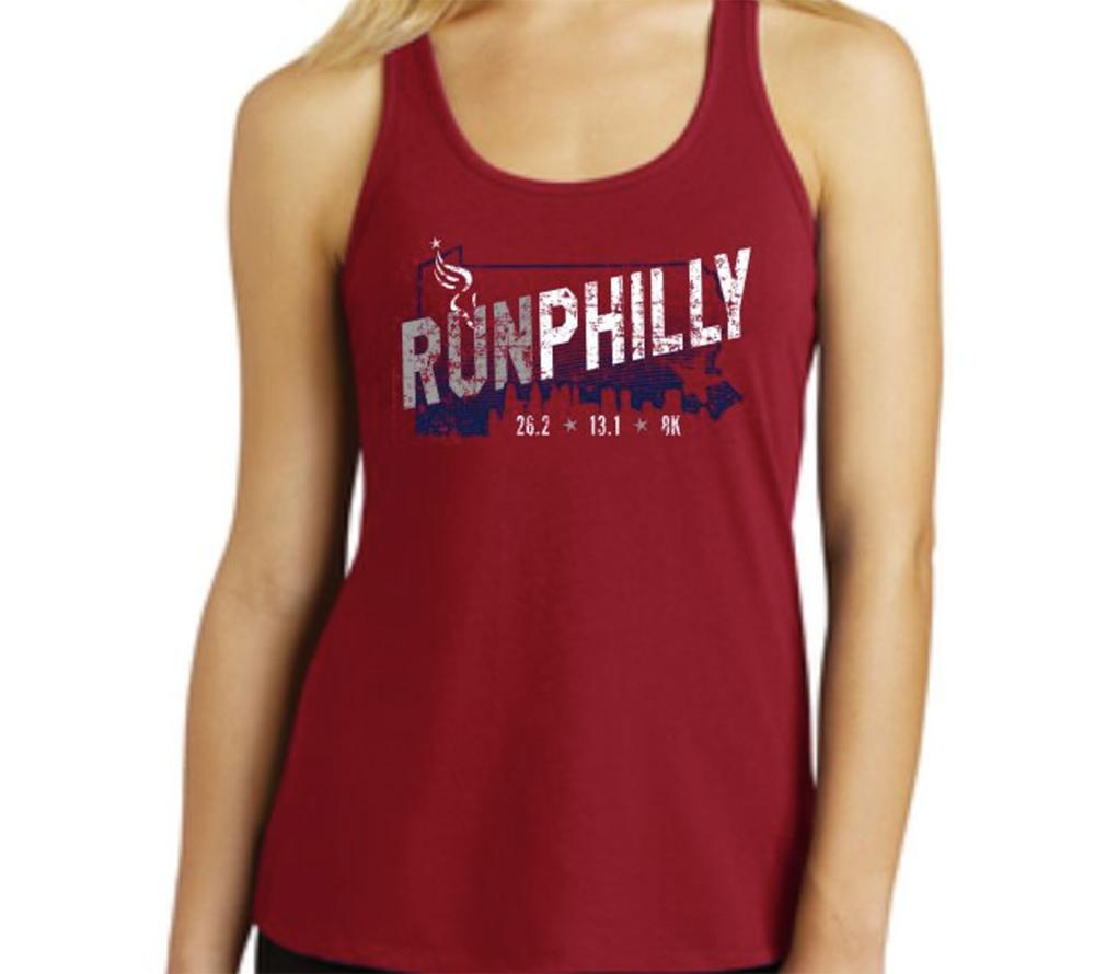 AACR Philadelphia Marathon: 'Run Philly' Women's Gathered Back Fashion Singlet - Classic Red - by District Made