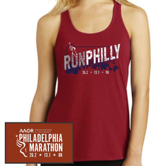 Philadelphia Marathon: 'Run Philly' Women's Gathered Back Fashion Singlet - Classic Red - by District Made