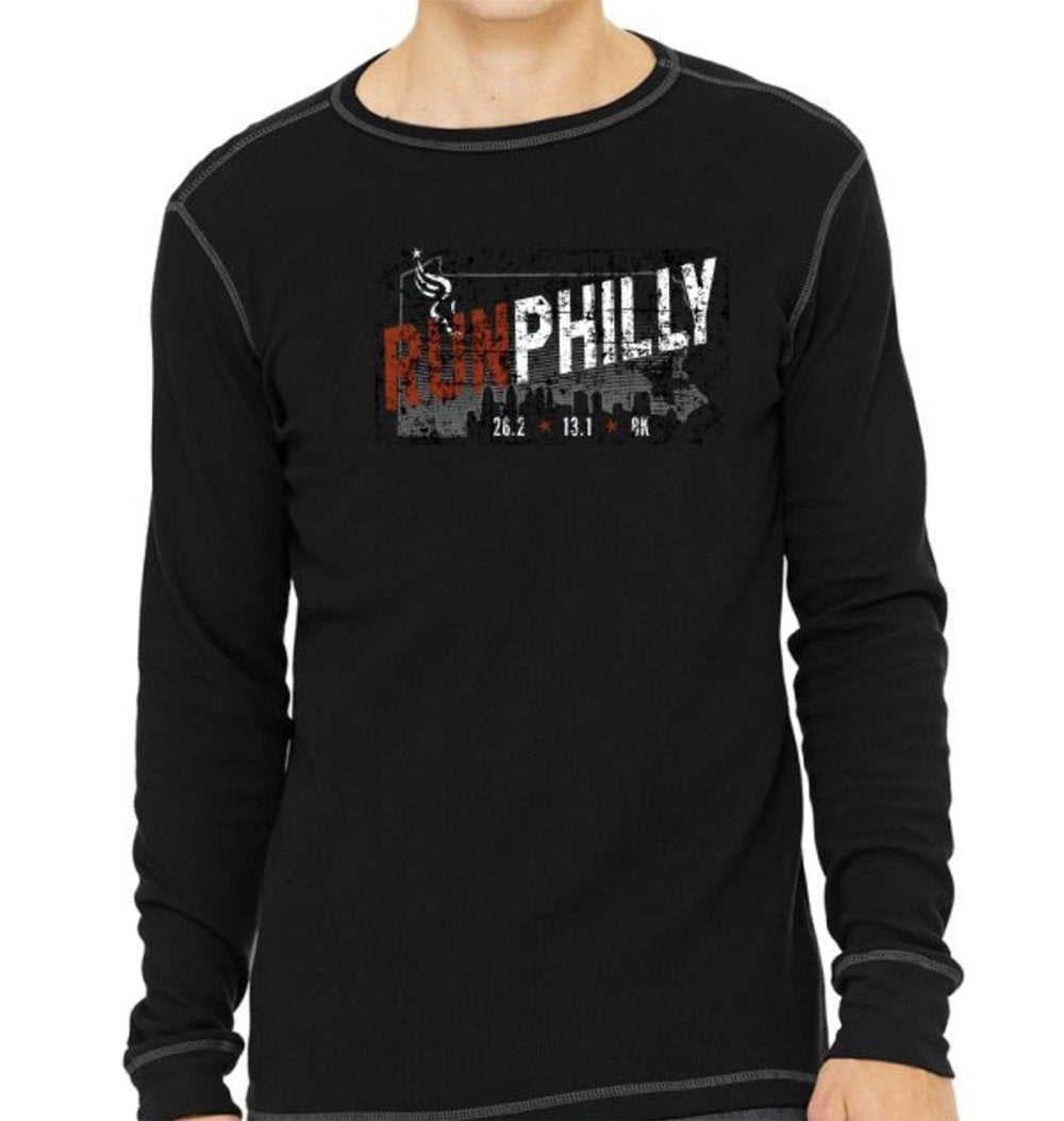 AACR Philadelphia Marathon: 'Run Philly' Men's LS Thermal Tee - Black/Grey - by Canvas