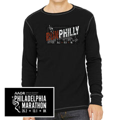 Philadelphia Marathon: 'Run Philly' Men's LS Thermal Tee - Black/Grey - by Canvas