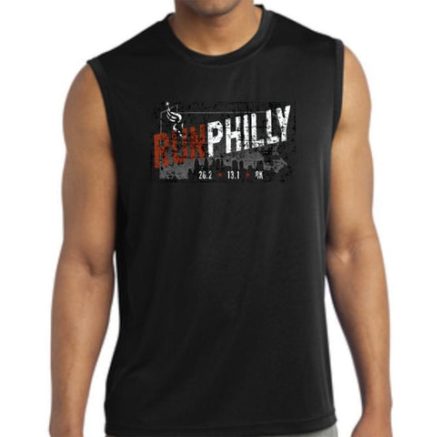 AACR Philadelphia Marathon: 'Run Philly' Men's Sleeveless Tech Tank - Black - by Sport-Tek