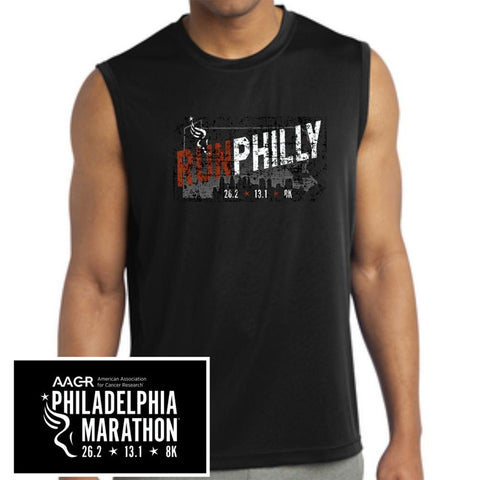 Philadelphia Marathon: 'Run Philly' Men's Sleeveless Tech Tank - Black - by Sport-Tek