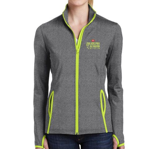 Dietz and Watson Philadelphia Half Marathon: 'Emb. Half' Women's Stretch Soft-brushed Full Zip Jacket - Charcoal / Charge Green - by Sport-Tek