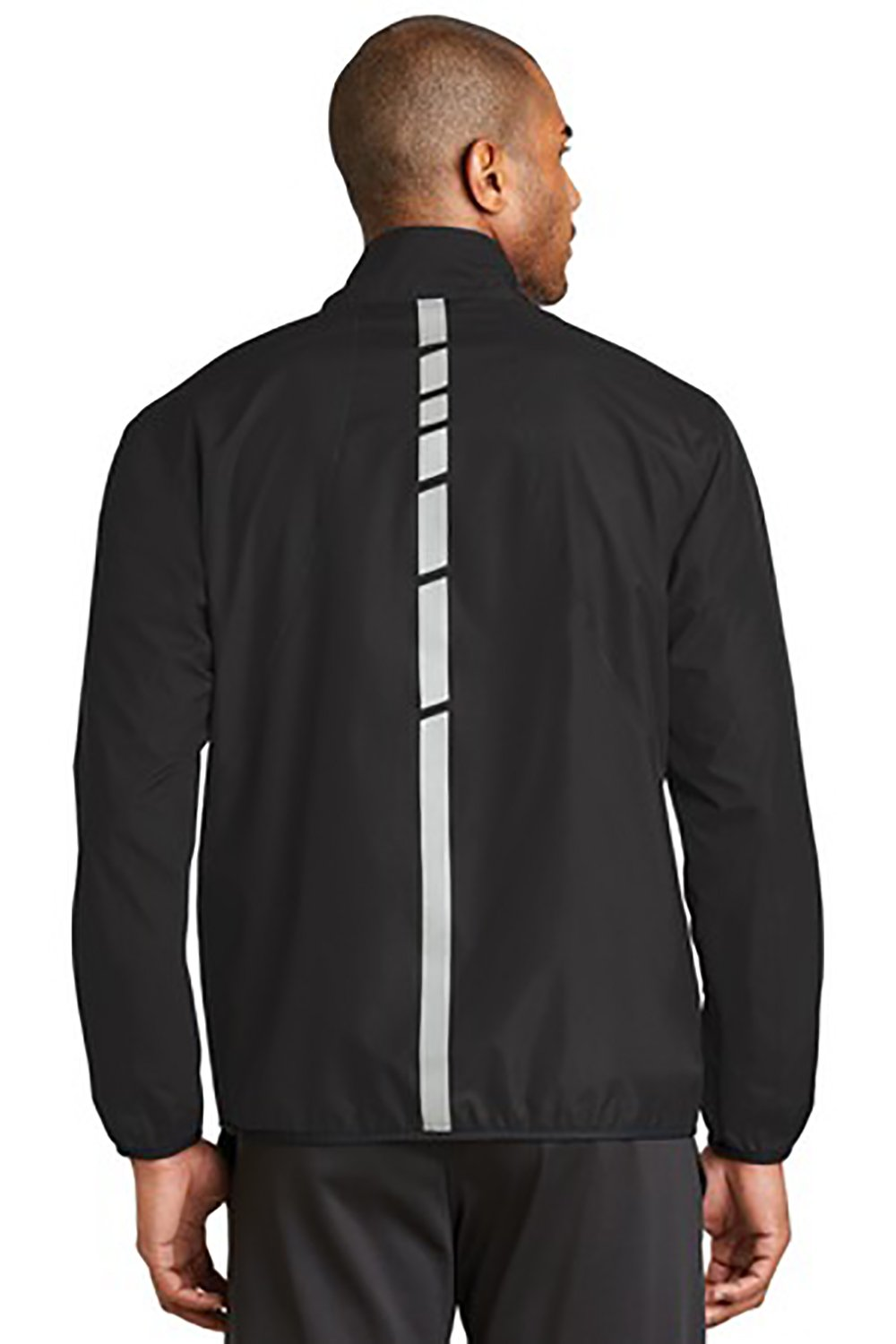AACR Philadelphia Marathon: 'Emb. Marathon' Men's Reflective Lightweight Full Zip Jacket - Black - by Port Authority