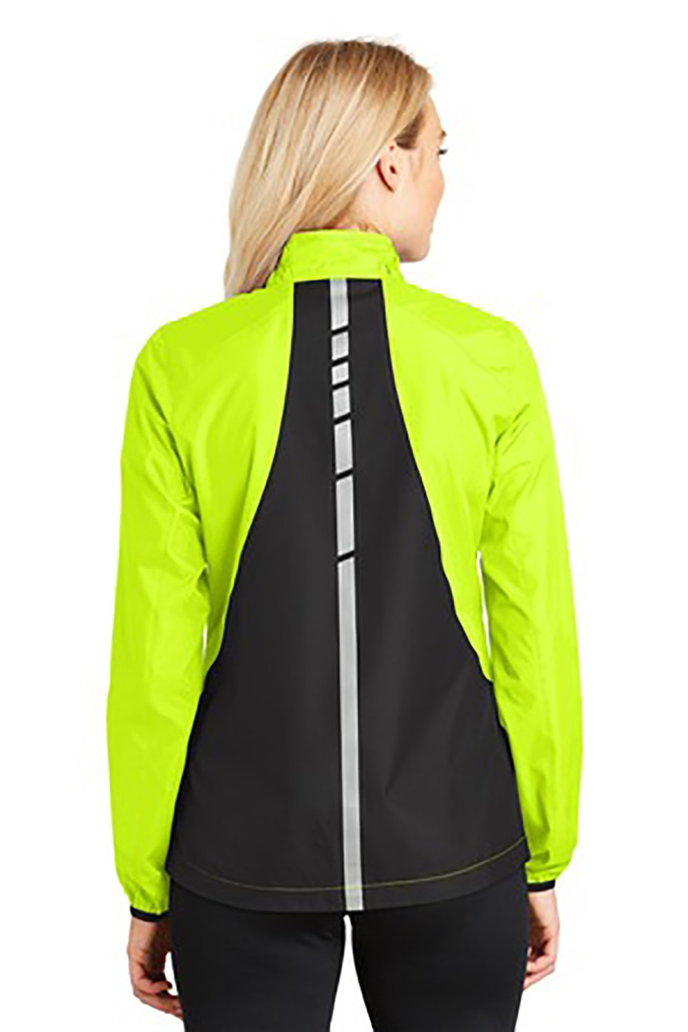 AACR Philadelphia Marathon: 'Emb. Marathon' Women's Reflective Lightweight Full Zip Jacket - Safety Yellow / Deep Black - by Port Authority