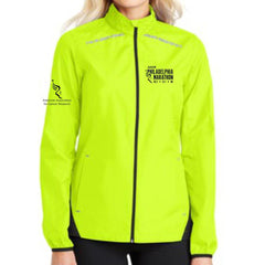 Philadelphia Marathon: 'Emb. Marathon' Women's Reflective Lightweight Full Zip Jacket - Safety Yellow / Deep Black - by Port Authority