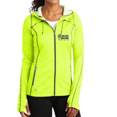 Philadelphia Marathon: 'Emb. Marathon' Women's Heathered Fleece Hooded Full Zip Jacket - Pace Yellow - by OGIO