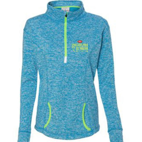 Dietz & Watson Philadelphia Half Marathon: 'Emb. Half' Women's Fleece Pullover 1/4 Zip - Electric Blue / Neon Green - by J America