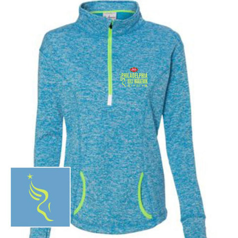Philadelphia Marathon: 'Emb. Half' Women's Fleece Pullover 1/4 Zip - Electric Blue / Neon Green - by J America