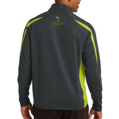 Philadelphia Marathon: 'Emb. Marathon' Men's Stretch Colorblock Pullover 1/2 Zip - Charcoal / Green - by Sport-Tek