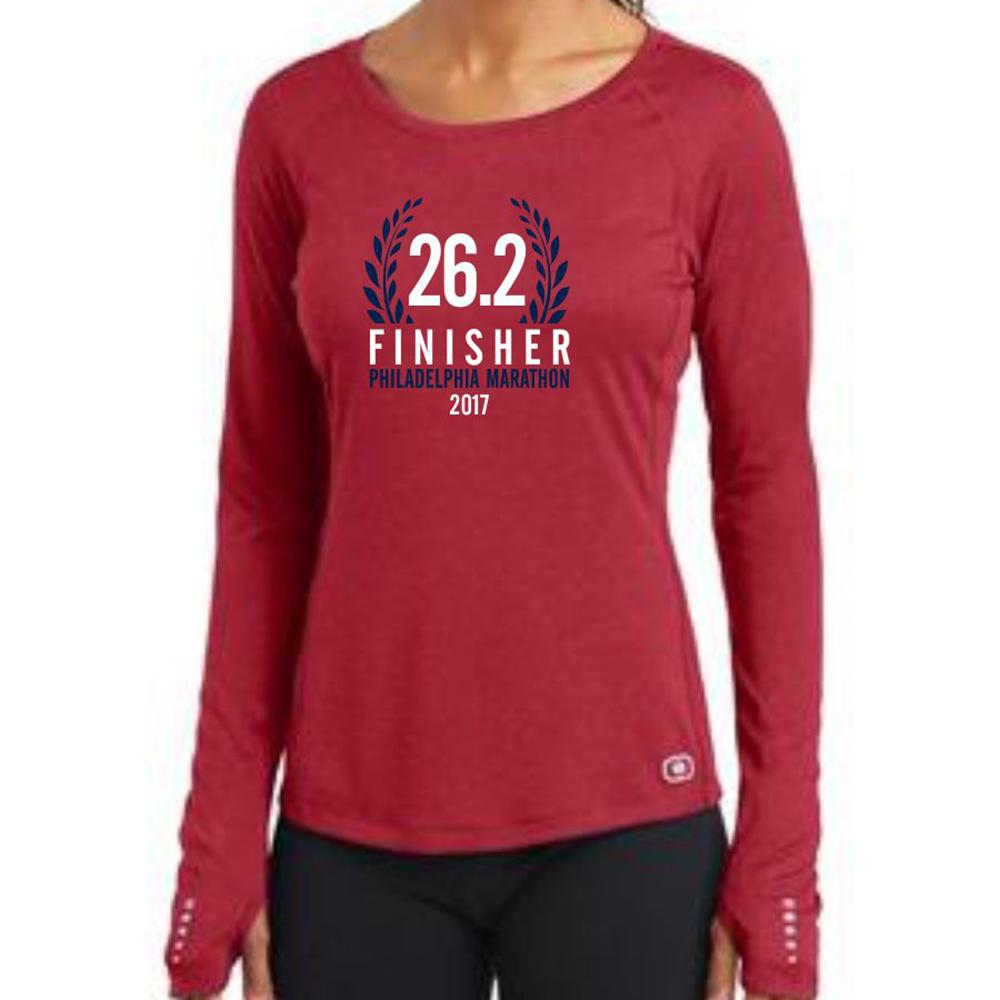 Philadelphia Marathon: '2017 Finisher 26.2' Women's LS Tech Tee - Ripped Red - by OGIO
