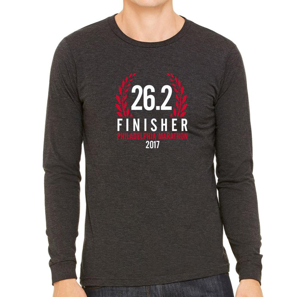 Philadelphia Marathon: '2017 Finisher 26.2' Men's LS Fashion Tee - Charcoal Black Triblend - by Canvas