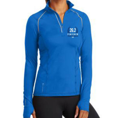 Philadelphia Marathon: '2017 Finisher 26.2' Women's Pullover Tech 1/4 Zip - Electric Blue - by OGIO