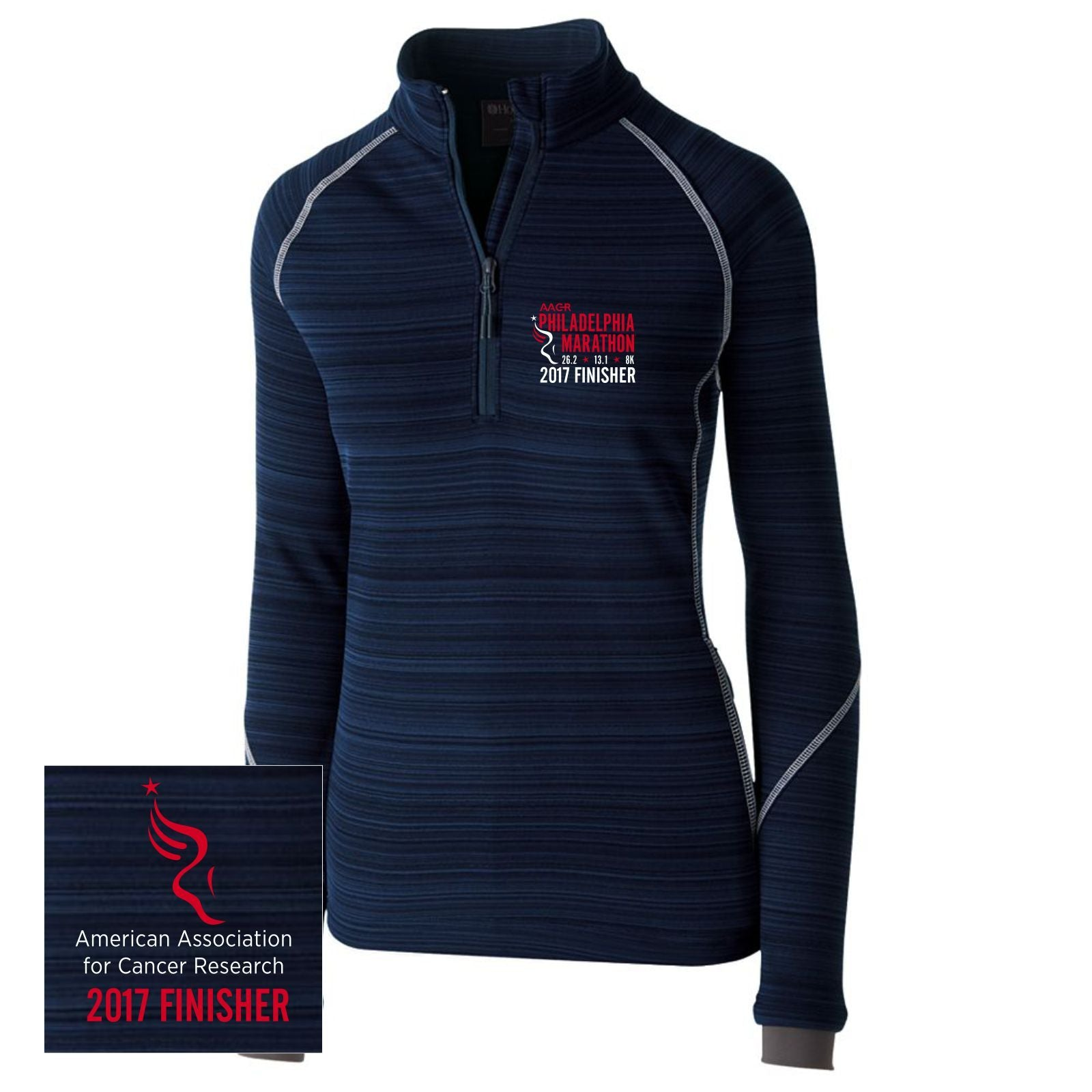 AACR Philadelphia Marathon: '2017 Emb. Finisher 26.2' Women's 'Deviate' Pullover Tech 1/2 Zip - Navy - by Holloway